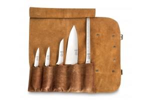 Trousse en cuir 5 couteaux de cuisine Au Nain Bistronome