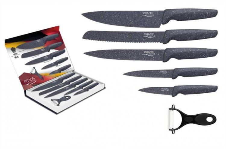 Coffret 5 couteaux Pradel Evolution lame revêtement façon pierre grise + éplucheur