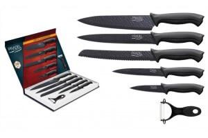 Coffret 5 couteaux Pradel lames martelée revêtement noir + 1 éplucheur