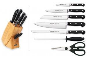 Bloc bois Arcos CLASICA 5 couteaux forgés + 2 accessoires