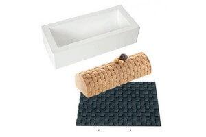 Kit moule à bûche 250 x 90mm + tapis de décor Silikomart