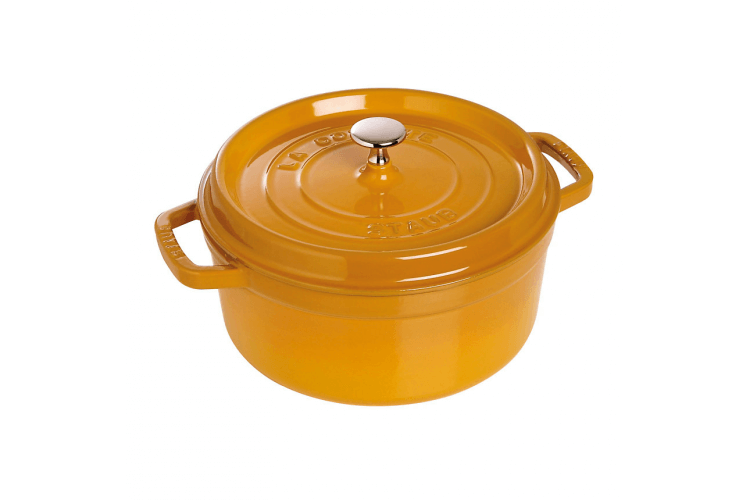 Cocotte ronde en fonte émaillée STAUB moutarde