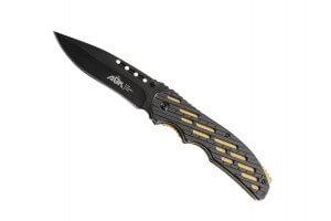 Couteau pliant ATK alu noir/doré 12cm inox + étui