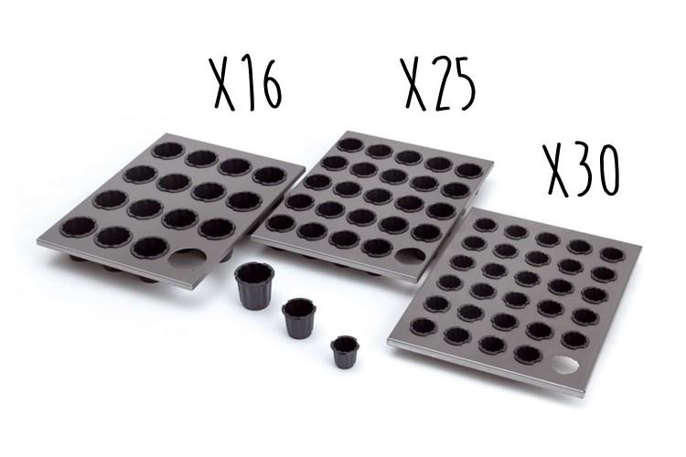 Plaque acier inox 40 x 30cm + moules à cannelés en Exoglass® Matfer