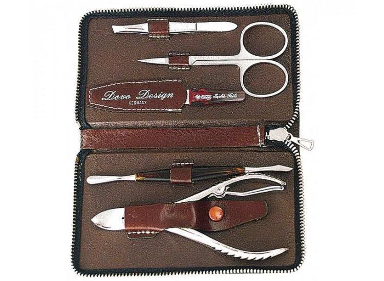 Kit de manucure Dovo cuir marron 5 pièces