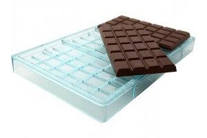 Moule pour 3 tablettes de chocolat 130g polycarbonate 158 x 82mm