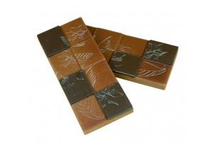 """Moule pour 6 mini-tablettes de chocolat """"fleur de cacao"""" 50g en PC 118 x 50mm"""