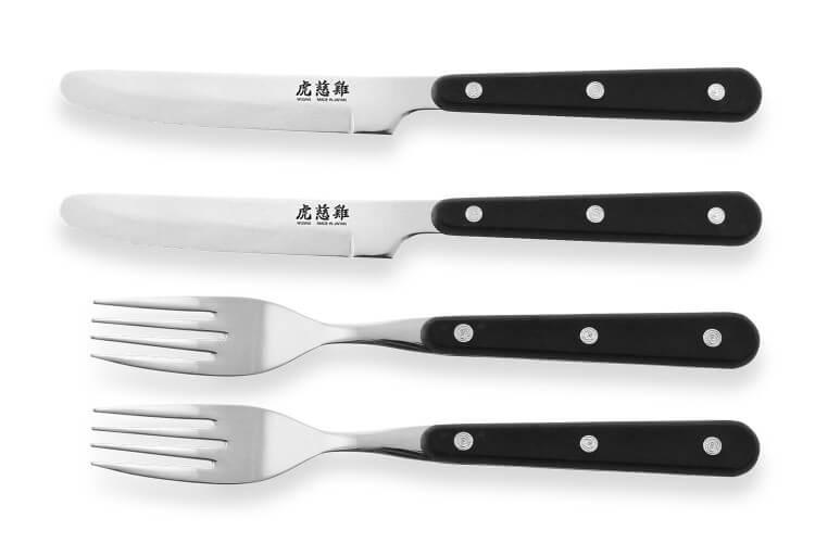 Coffret de table Wusaki 2 couteaux à steak à bout rond + 2 fourchettes