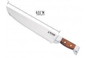 Couteau à thon Au Nain 2 mitres inox lame à dents manche kotibé