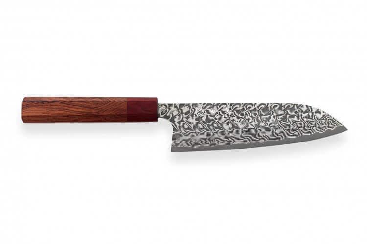 Couteau santoku japonais artisanal Yoshimi Kato 16.5cm SG2 Damascus