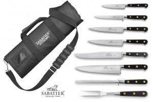 Mallette cuisinier Sabatier Chef 6 couteaux fabrication française + 1 fourchette + 1 fusil