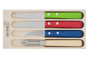 Coffret 4 couteaux à légumes André Verdier manches hêtre colorés
