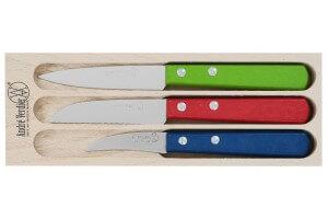 Coffret 3 couteaux à légumes André Verdier bec d'oiseau + stylet denté + office