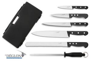 Mallette de 5 couteaux + 1 fusil Deglon Bonne Cuisine