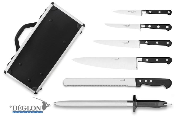 Mallette de 5 couteaux + 1 fusil Idéal Sabatier Deglon