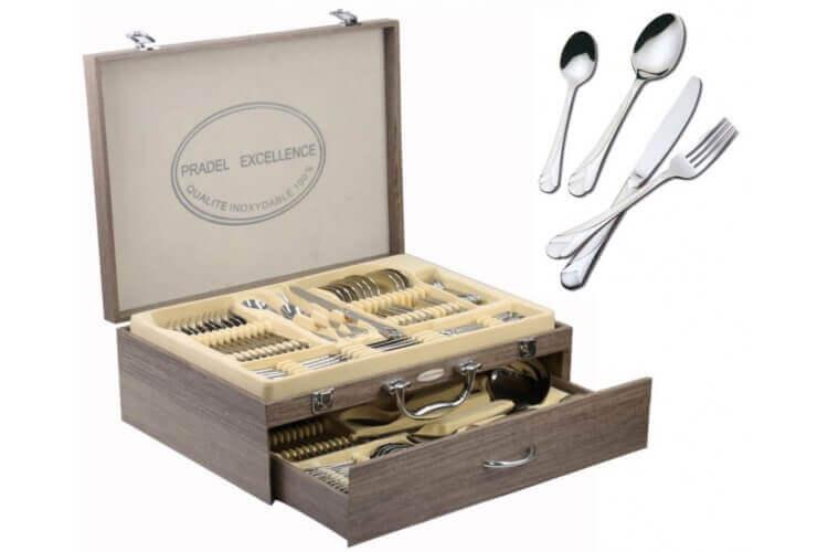 Ménagère 84 couverts inox coffret 1 tiroir qualité inox Pradel Excellence Ambiance