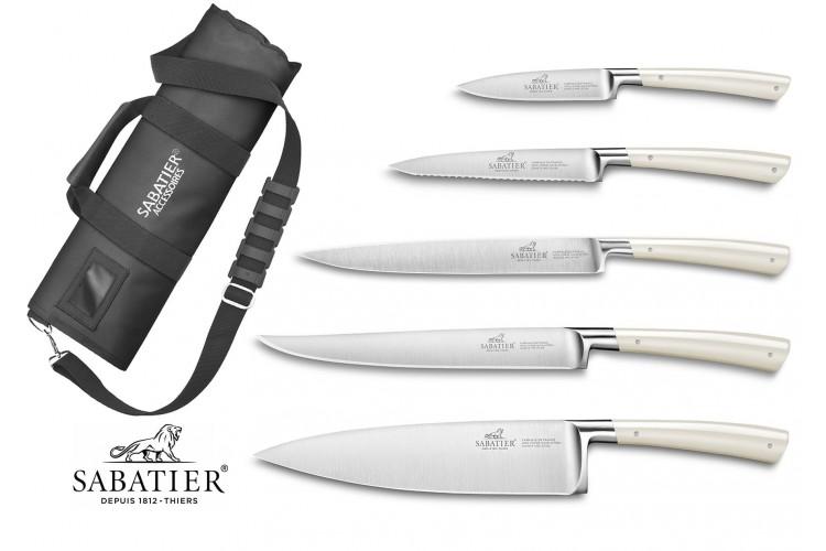 Mallette cuisinier Sabatier Edonist Perle 5 couteaux fabrication française