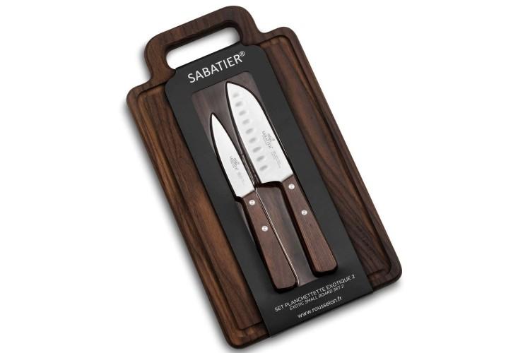 Set Sabatier International planche frêne + 2 couteaux inox