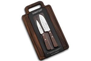 Set Sabatier International 2 couteaux inox + planche en frêne