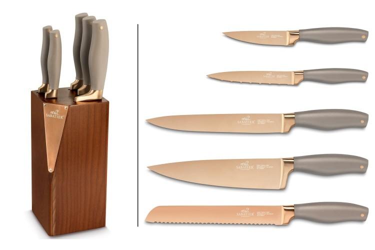 Bloc en bois Sabatier International 5 couteaux revêtement titane