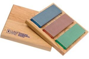 Kit 3 pierres à aiguiser diamant DMT + coffret bois