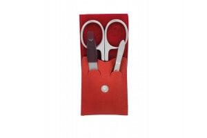 Trousse de manucure DOVO Solingen cuir rouge