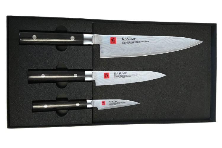 Coffret 3 couteaux Kasumi Standard lames Damas