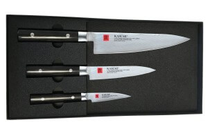 Coffret 3 couteaux japonais Kasumi Standard lames Damas