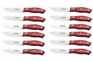 Set de 12 couteaux à steak 13cm Tramontina Jumbo manche rouge