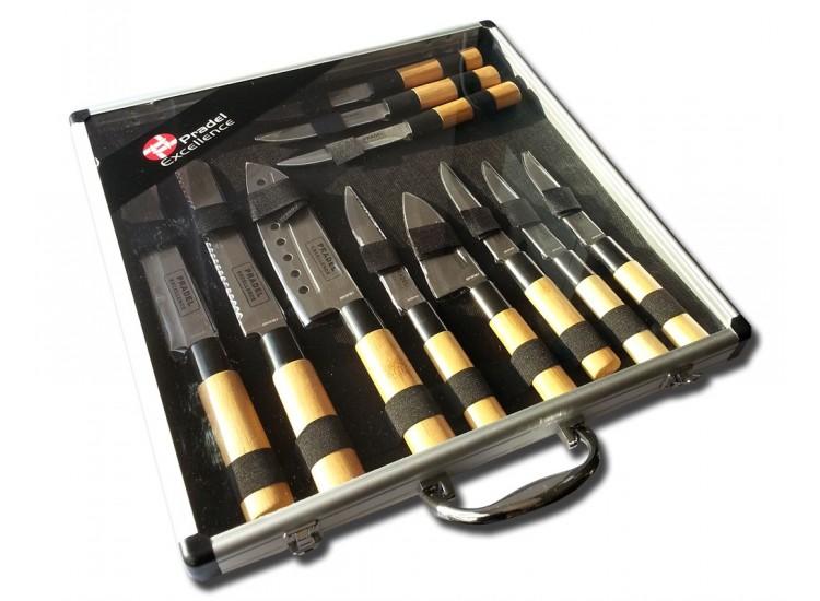 Valise de 11 Couteaux type Japonais Pradel Excellence