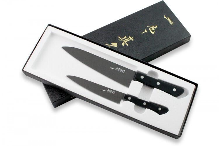Coffret 2 couteaux japonais MAC Black Universel + Chef 18cm
