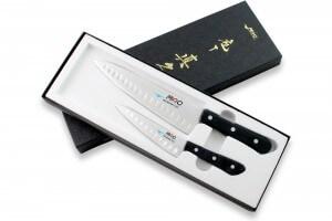 Coffret 2 couteaux japonais MAC Chef alvéolés : Universel 13cm + Chef 20cm