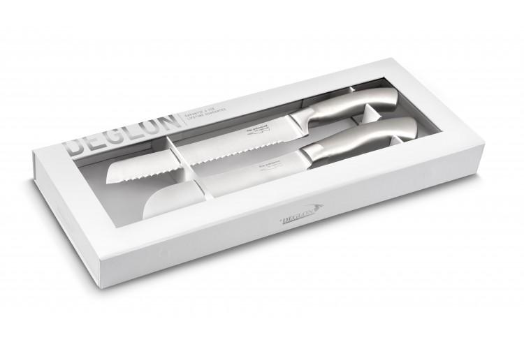 Coffret 1 couteau santoku + 1 couteau à pain Déglon Oryx design monobloc