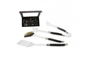 Coffret barbecue 3 ustensiles Pradel Excellence inox manche pakka noir