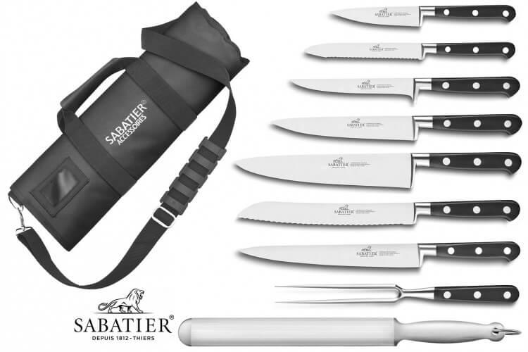 Mallette Sabatier Idéal  Inox 100% forgés 7 couteaux fabrication française + 1 fourchette + 1 fusil