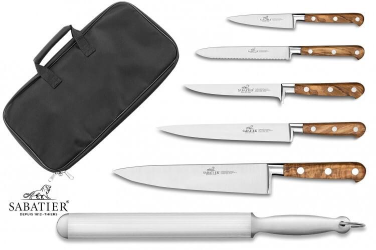 Mallette cuisinier Sabatier Provençao 5 couteaux fabrication française + 1 fusil