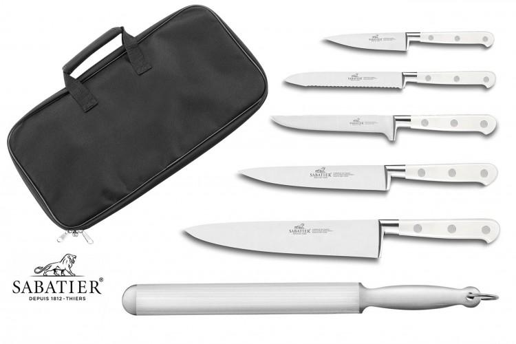 Mallette cuisine Sabatier Toque Blanche 5 couteaux fabrication française + 1 fusil