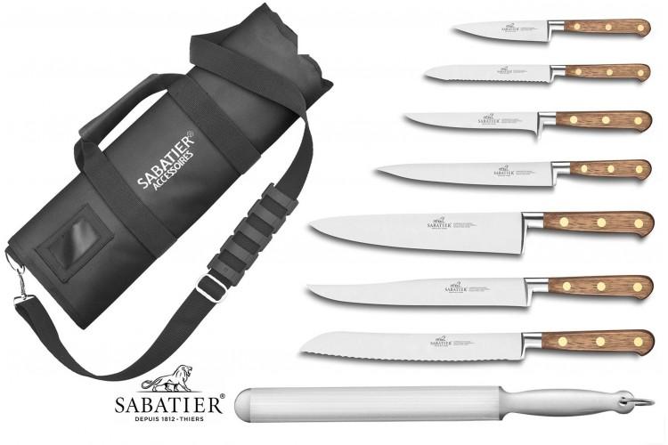 Mallette cuisinier Sabatier Perigord 7 couteaux fabrication française + 1 fusil