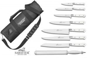 Mallette Sabatier Toque Blanche 7 couteaux fabrication française + 1 fusil