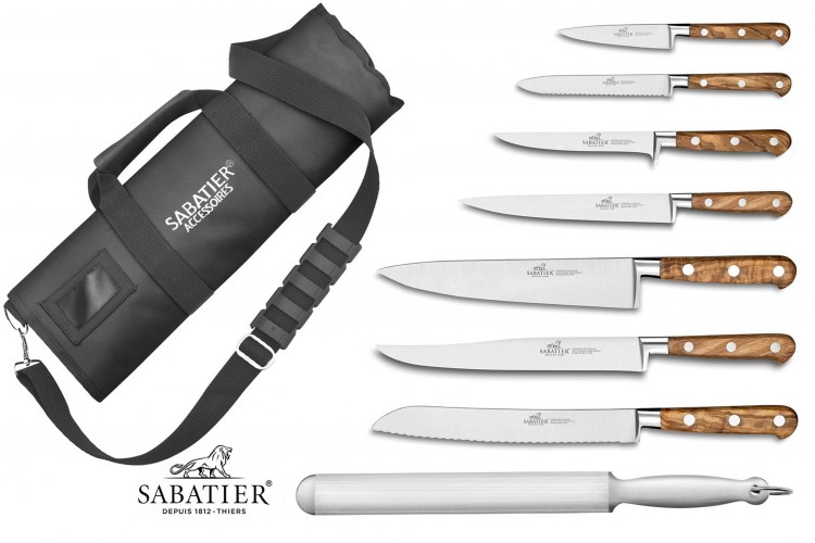 Mallette cuisinier Sabatier Provençao 7 couteaux fabrication française + 1 fusil