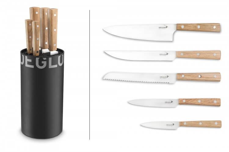 Bloc de 5 couteaux de cuisine Déglon Oakwood manches bois