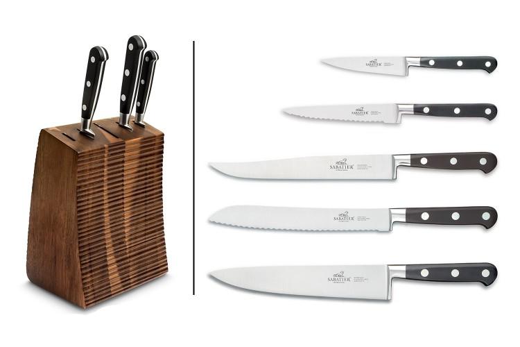 Bloc en acacia + 5 couteaux Licorne Sabatier International