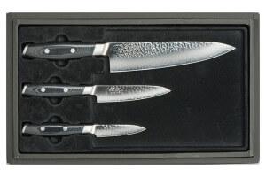 Coffret 3 couteaux japonais Yaxell Tsuchimon martelés : Chef 20cm + Universel 12cm + Office 8cm