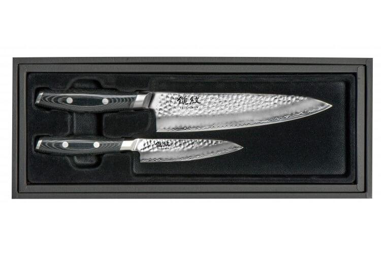 Coffret 2 couteaux japonais Yaxell Tsuchimon martelés : Chef 20cm + Universel 12cm