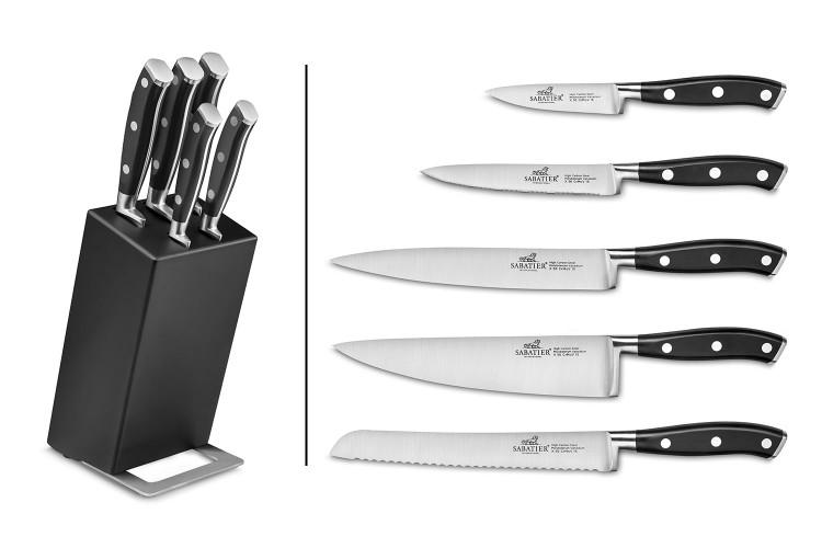 Bloc en hévéa noir + 5 couteaux Ysis Sabatier International