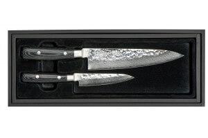 Coffret 2 couteaux japonais Yaxell Zen damas : Chef 20cm + Universel 12cm