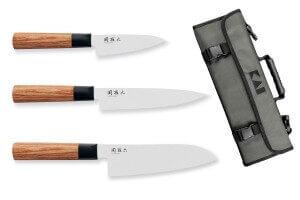 Mallette 3 couteaux de cuisine Kai Seki Magoroku Redwood
