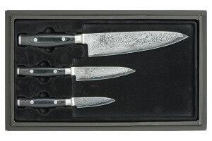 Coffret 3 couteaux japonais Yaxell RAN damas : Chef 20cm + Universel 12cm + Office 8cm