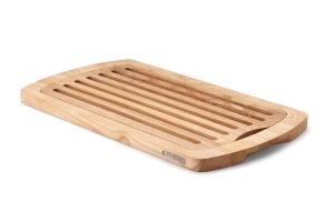 Planche à pain Continenta en bois d'hévéa 45x26x2cm + grille ramasse-miettes