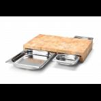 Planche à découper Continenta en bois 50x32,5x8,5cm + 3 bacs inox